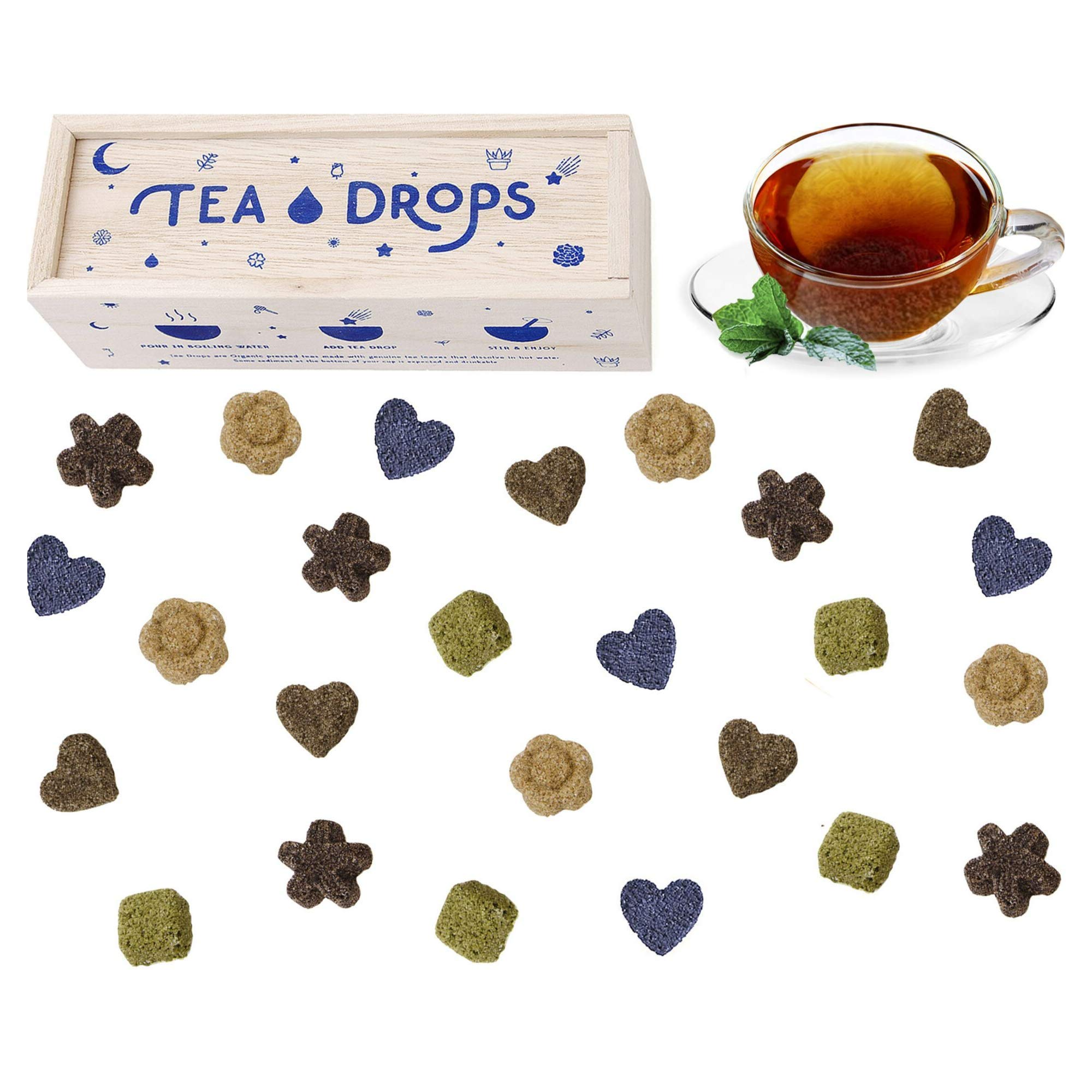 Sweetened Organic Loose Leaf Tea   Deluxe Herbal Sampler Assortment Box   Instant Pressed Teas Eliminate the Need for Teabags and Sweetener   Tea Lovers Gift   Delicious Hot or Iced   By Tea Drops