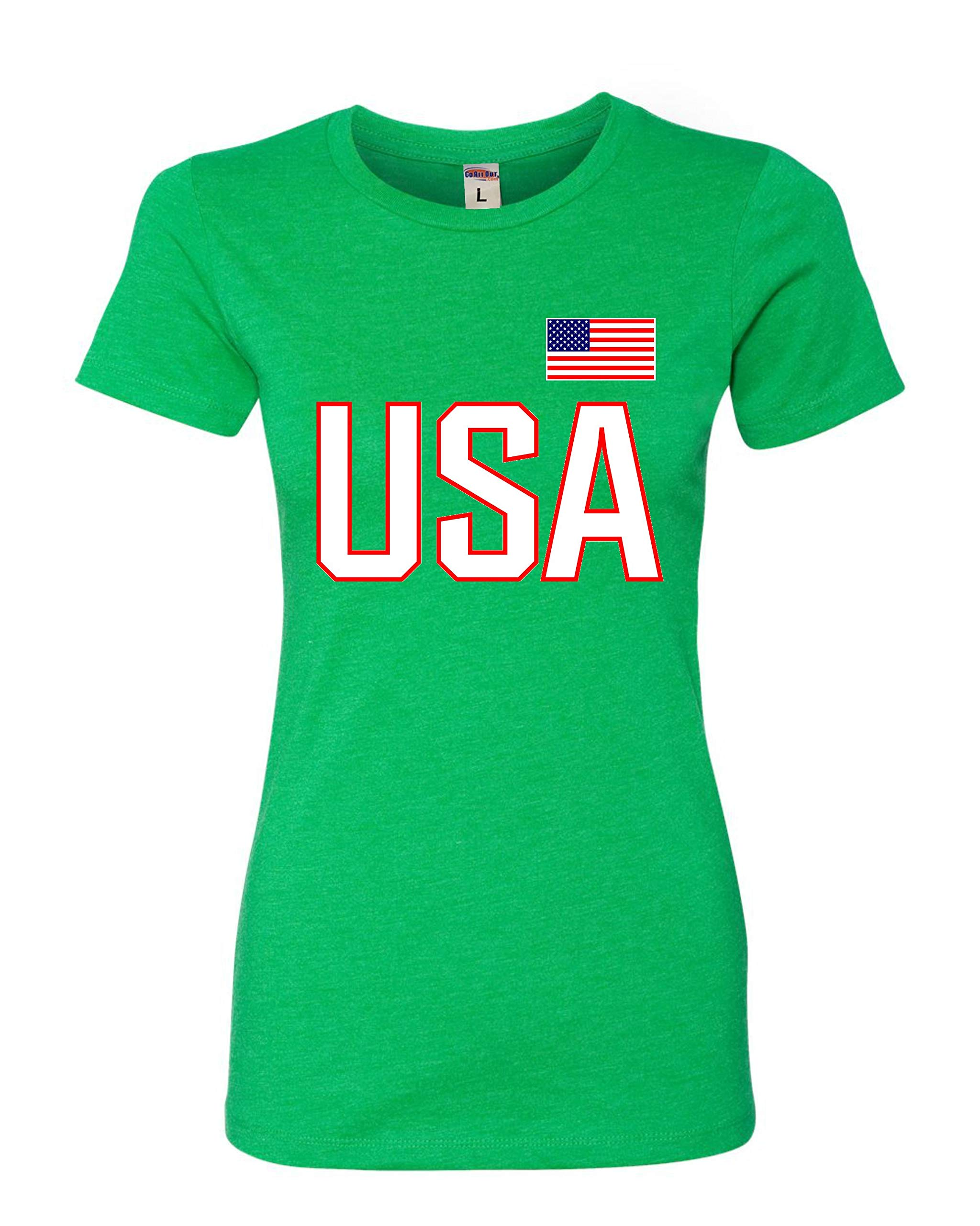 Go All Out Womens USA National Pride Deluxe Soft T-Shirt