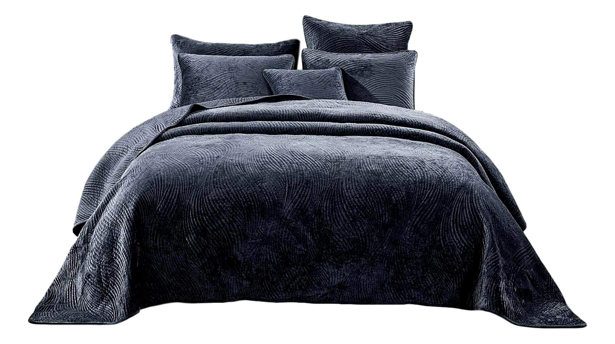 Tache Velvet Dreams Luxurious Velveteen Velour Super Soft Plush Warm Cozy Elegant Ripple Waves Stitch Quilted Coverlet Steel Navy Blue Bedspread Set, Queen