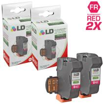 LD Remanufactured Inkjet Cartridge Replacement for NeoPost IJ25 3300028D (Fluorescent Red, 2-Pack)