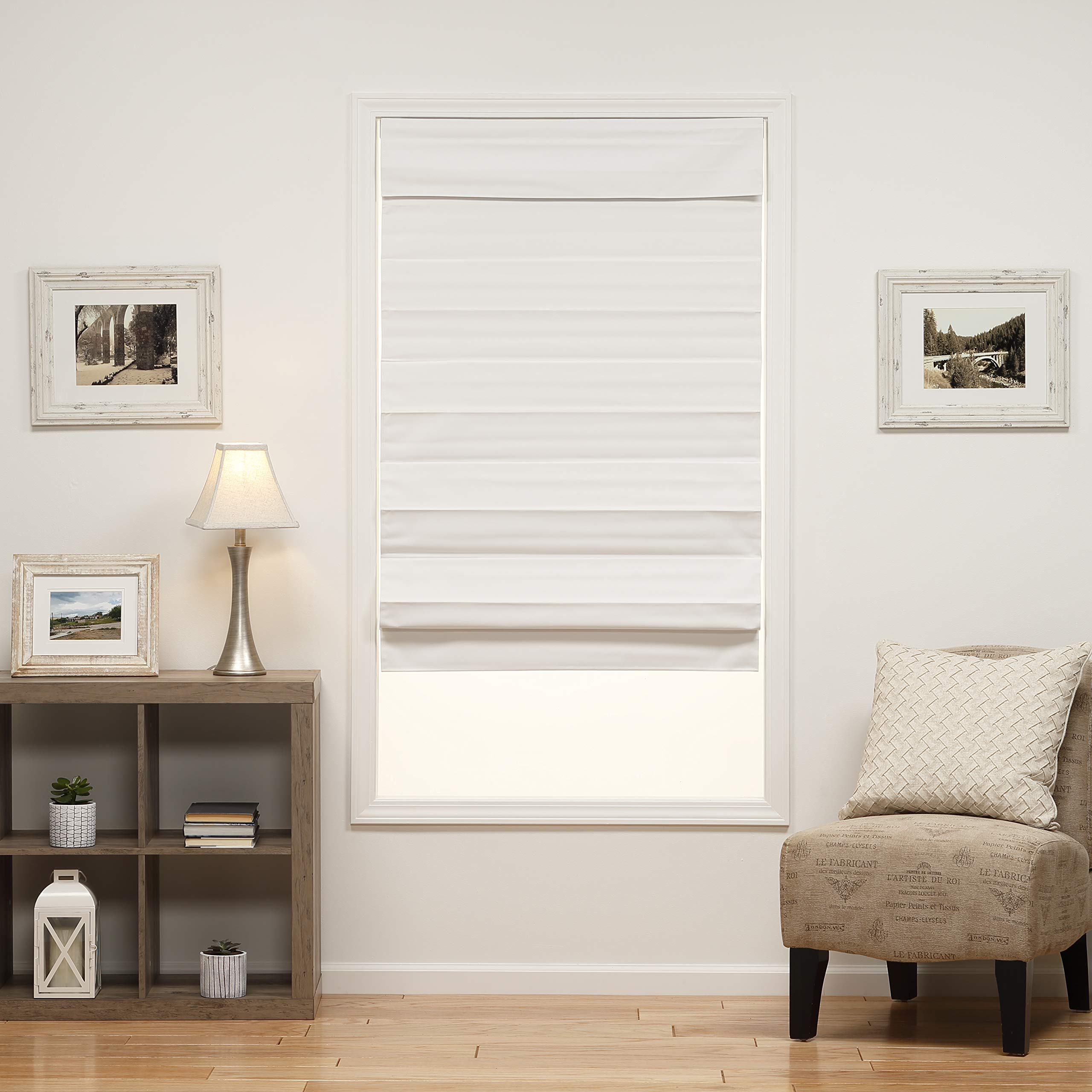 DEZ Furnishings 3QWT360720 Insulating Cordless Roman Shade, 36W x 72L Inches, White