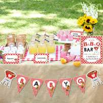Bessmoso BBQ Baby Shower Party Decorations Kit BabyQ Banner Bar Sign Food Tent Cards Label for Summer Barbecue Gender Reveal Picnic Party Supplies