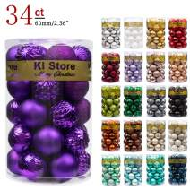 KI Store 34ct Christmas Ball Ornaments Purple 2.36-Inch Shatterproof Christmas Tree Balls Decorations for Xmas Wedding Party Tree Ornaments Hooks Included (60mm)