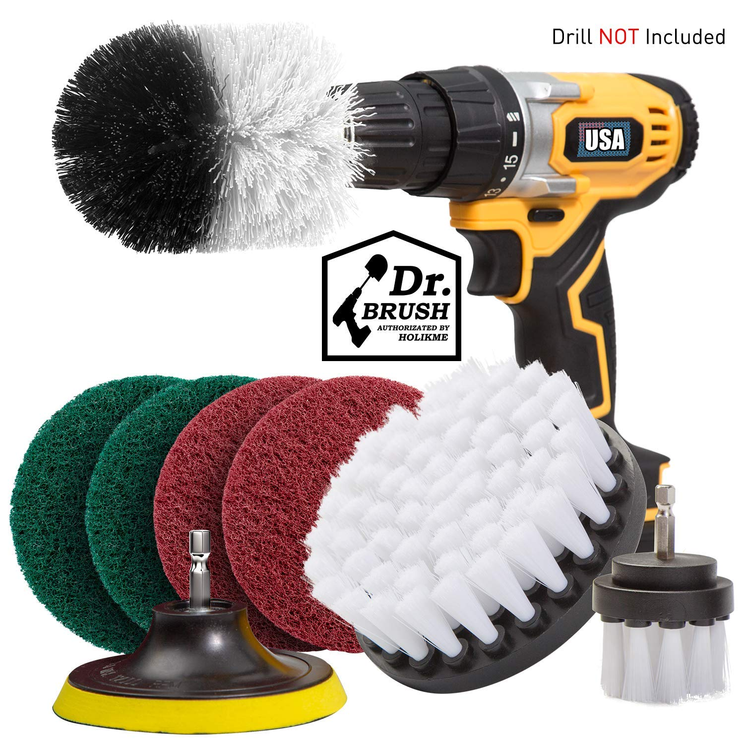 Holikme 8 Piece Drill Brush Attachment Set Scouring Pads Power Scrubber Brush Scrub Pads Cleaning Kit-All Purpose Cleaner for Bathroom Surfaces, Grout, Floor, Tub, Shower, Tile, Corners White
