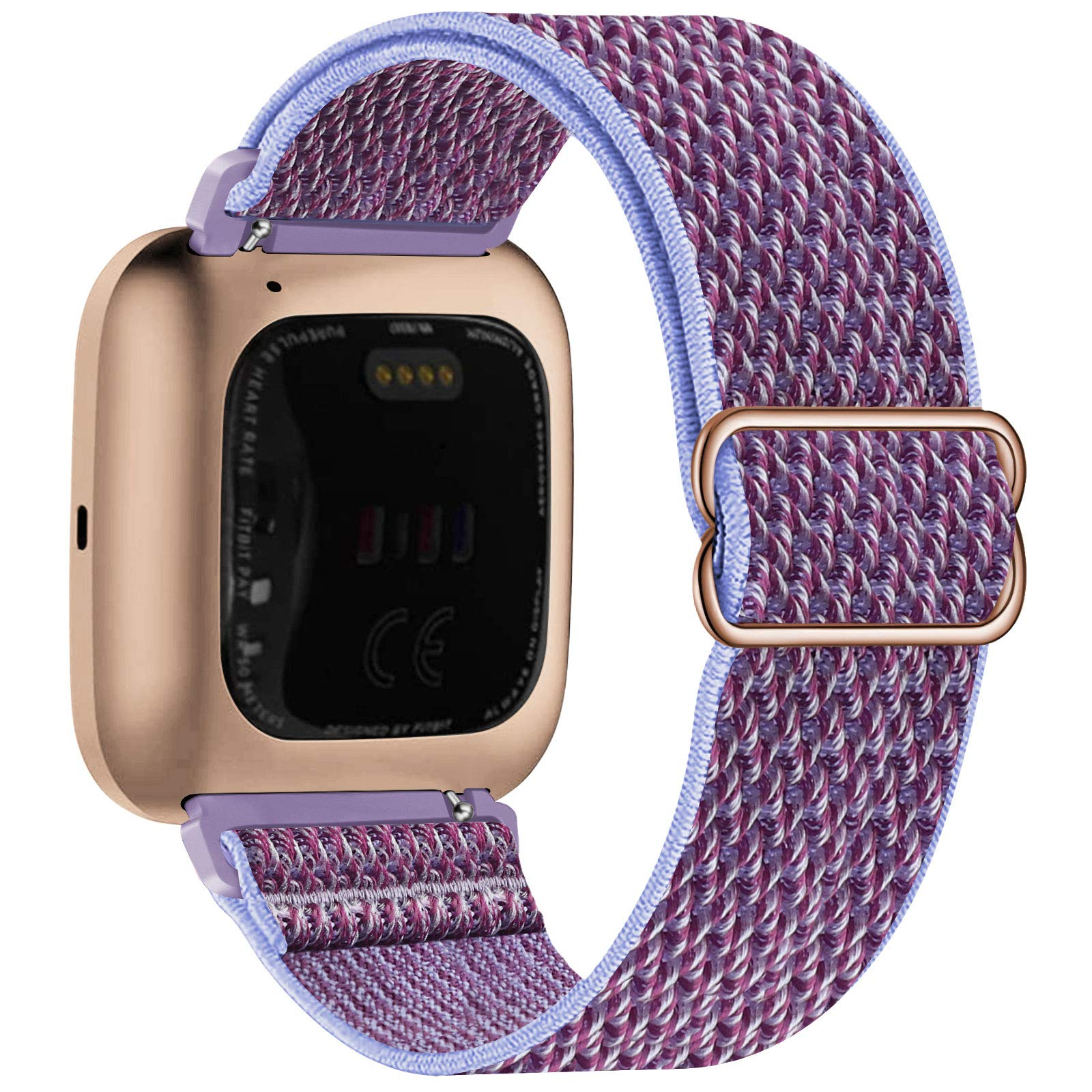 UHKZ Stretchy Nylon Bands Compatible with Fitbit Versa/Versa 2/Versa Lite/Versa SE for Women Men,Adjustable Breathable Fabric Sport Elastic Replacement Wristband for Fitbit Versa Smart Watch