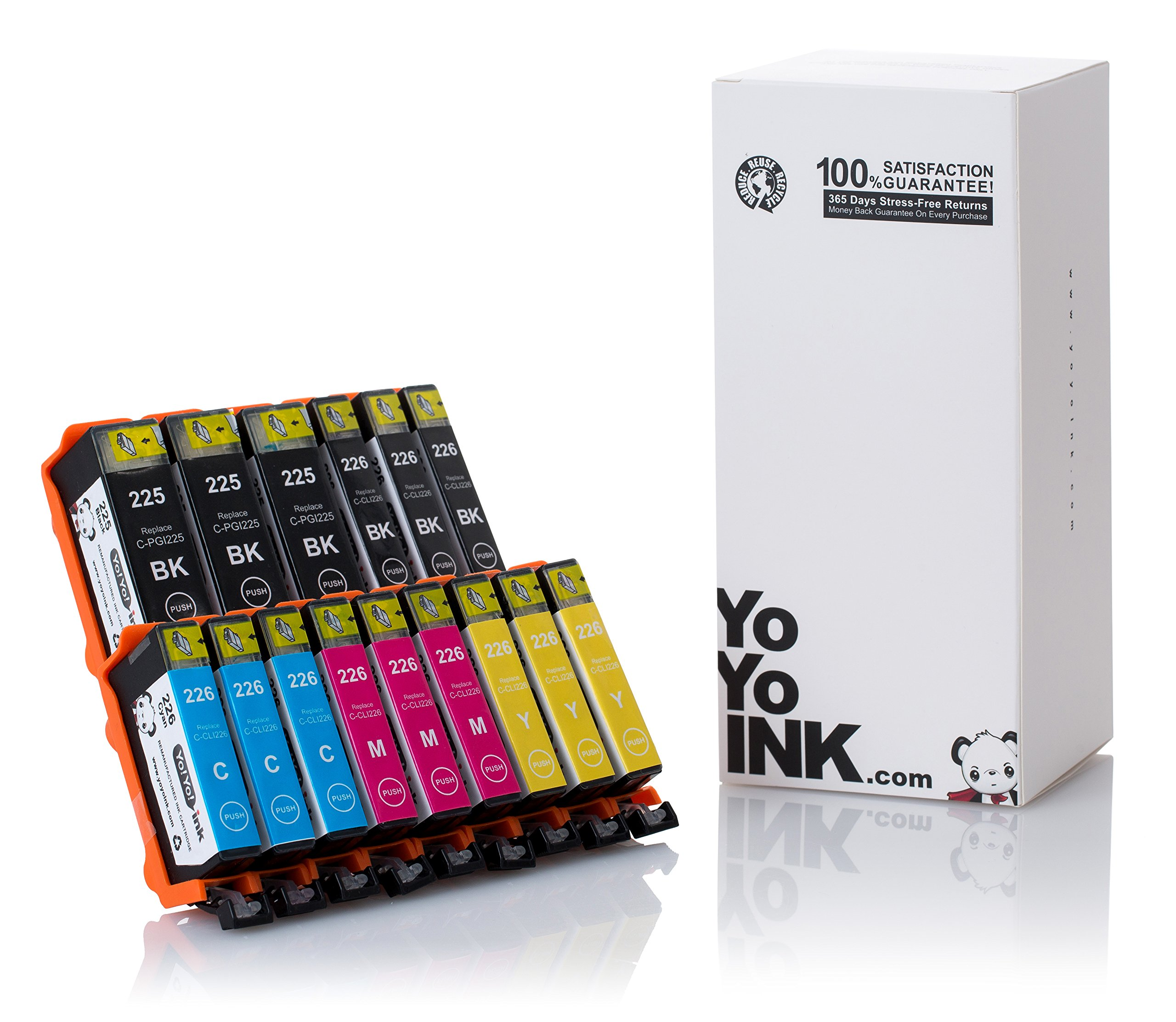 YoYoink Compatible Ink Cartridges Replacement for Canon PGI-225XL 225 / CLI-226XL 226 (3 Black, 3 Small Black, 3 Cyan, 3 Magenta, 3 Yellow; 15 Pack)
