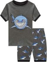 Toddler Boys Pajamas Summer Short Sets Fire Truck 100% Cotton Kids Pjs Excavator Sleepwear Clothes Set Size 1-7T
