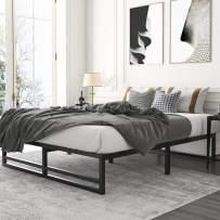 Amolife Metal Platform Bed Frame with Steel Slat Support,Mattress Foundation, Full Size Bed Frame, Black