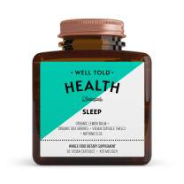 Well Told Sleep Supplement: Organic Lemon Balm, Organic Goji Berries, Non-Habit Forming, Non-GMO, Vegan, Does Not Contain Fillers or Synthetics, 62 Capsules (425mg Each).