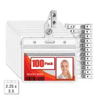 MIFFLIN Horizontal Plastic Card Holder with Metal Clip and Vinyl Straps (Clear, 2.25x3.5 Inch, 100 Pack), Waterproof PVC ID Name Badge Holder with Clip