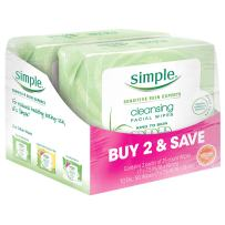 Simple Kind to Skin Facial Cleansing Wipes For Clean Skin Cleansing Face Wipes and Makeup Remover for Sensitive Skin 25 Wipes 2 Count