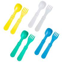 RE-PLAY Made in The USA 8pk Toddler Feeding Utensils Spoon and Fork Set |Eco Friendly Recycled Milk Jugs - Virtually Indestructible | Aqua, Yellow, White, Sky Blue (Surf+)