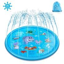 "Splash Pad & Sprinkle Play Mat, ELECTRAPICK Upgraded 68"" Inflatable Outdoor Sprinkler Pad Toddler Water Toys, Kids Outdoor Party Sprinkler Toy"
