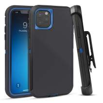 FOGEEK Case for iPhone 11, Heavy Duty Rugged Case, Belt Clip Holster Kickstand Protective Cover [Shockproof] Compatible for iPhone 11 [6.1 inch] (Black/Blue)