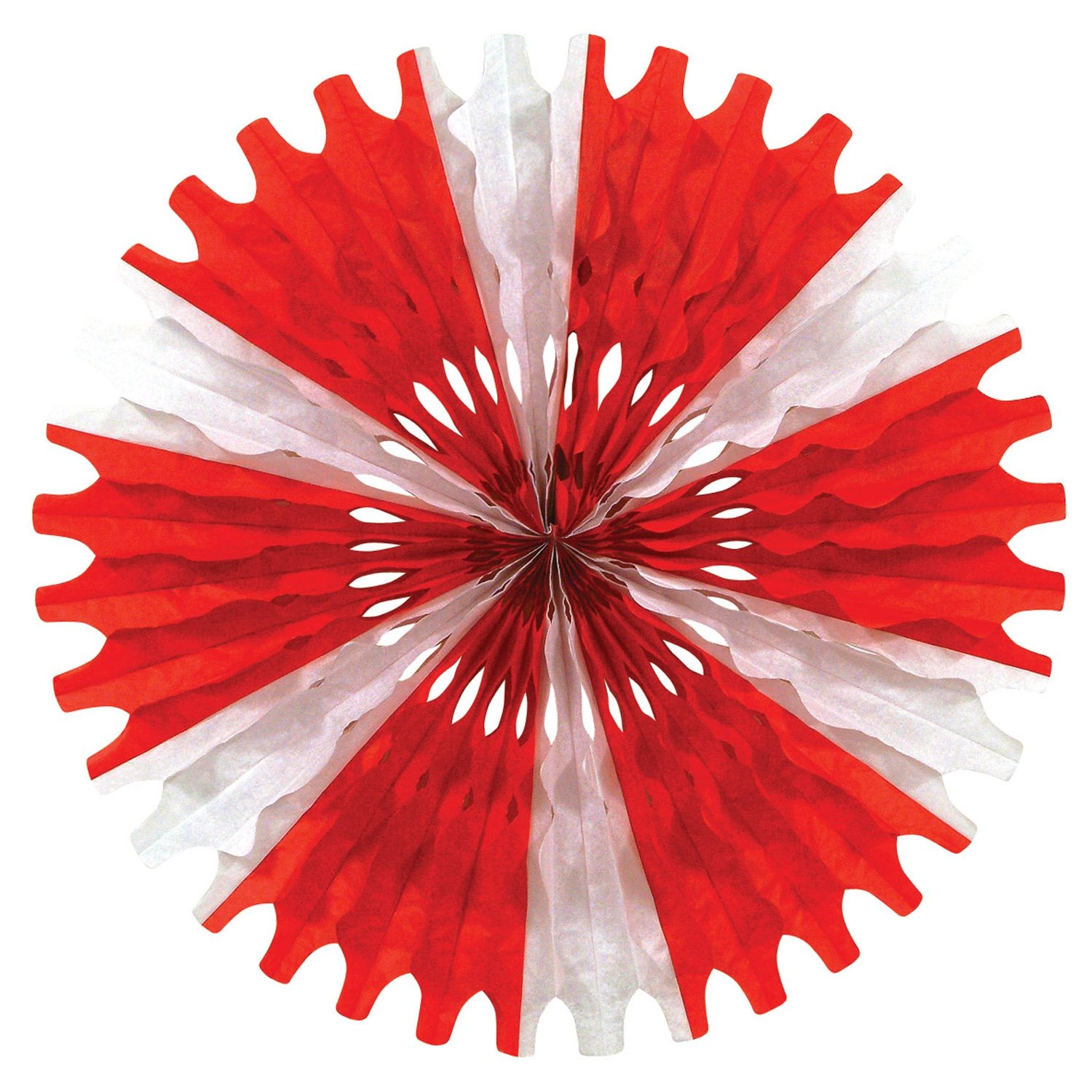 Beistle 55293-RW Red and White Tissue Fan, 25-Inch, 1 Per Package