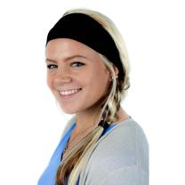 Everfan Black Headband | Athletic Stretch Sweatband for Running Yoga and Crossfit