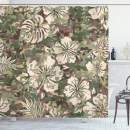 """Ambesonne Camo Shower Curtain, Aloha Hawaiian Tropical Jungle Forest Hibiscus Flowers Leaves Nature, Cloth Fabric Bathroom Decor Set with Hooks, 75"""" Long, Brown Pink"""