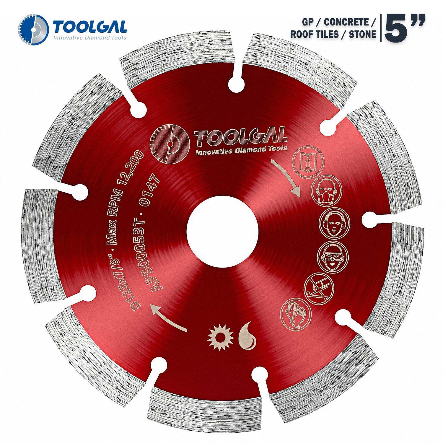 """TOOLGAL Diamond Blade 5"""" for Masonry - Wet and Dry Cutting of Concrete/Tiles/Stone - ⅞"""" Arbor fit to Angle Grinders, Circular Saws, Masonry Saws, Tilesaw and Cutoff Cutters"""