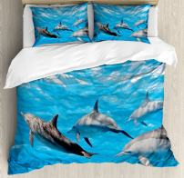 Ambesonne Dolphin Duvet Cover Set, Underwater Photography of Dolphins Happily Swimming Ocean Animal Life Image Print, Decorative 3 Piece Bedding Set with 2 Pillow Shams, Queen Size, Grey Blue
