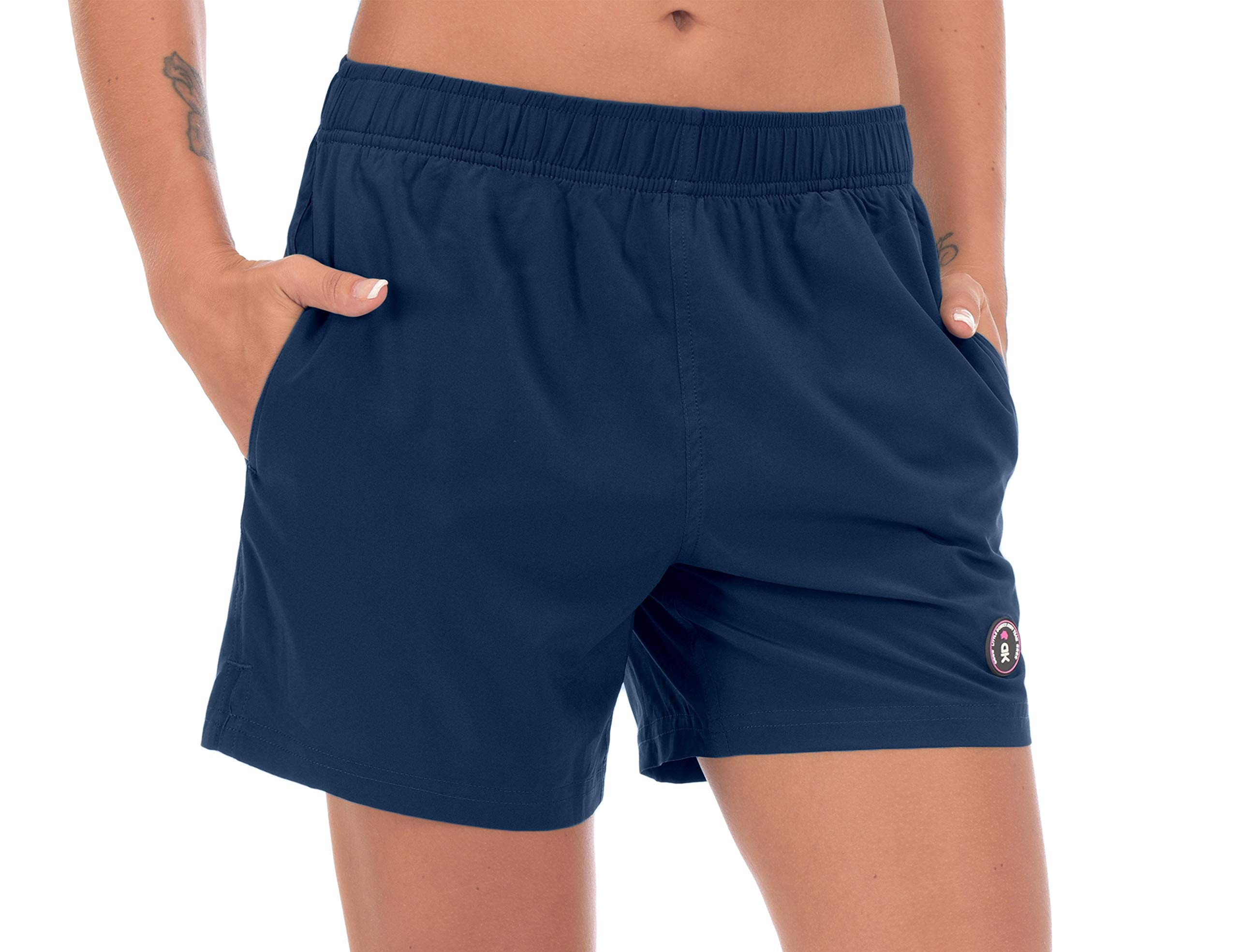 Little Donkey Andy Women's Running Shorts Lightweight Athletic Workout Shorts with Liner & Pockets Blue XL