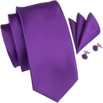Hi-Tie Solid Silk Necktie Set for Men with Pocket Square Cufflinks for Wedding