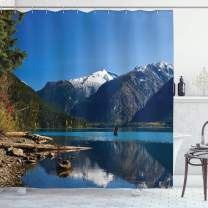 "Ambesonne Landscape Shower Curtain, Mountain Countryside Winter Time Lake Mountain Forest View Photo, Cloth Fabric Bathroom Decor Set with Hooks, 84"" Long Extra, Blue White"