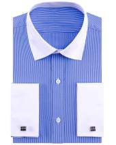 Alimens & Gentle French Cuff Regular Fit Contrast White Collar Dress Shirts Casual