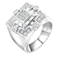 Men's Sterling Silver .925 Ring Designer CZ Square Featuring a Princess-Cut Invisible Look Center Stone Surrounded by 16 Round Stones Platinum Plated Jewelry