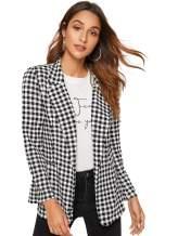 Milumia Women's Vintage Button Long Sleeve Plaid Blazer Jacket Outwear