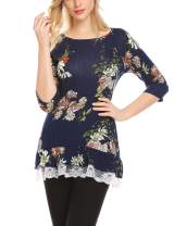 Mofavor Women's Casual Floral Lace 3/4 Sleeve A-Line Tunic Tops Flowy Blouse Shirts