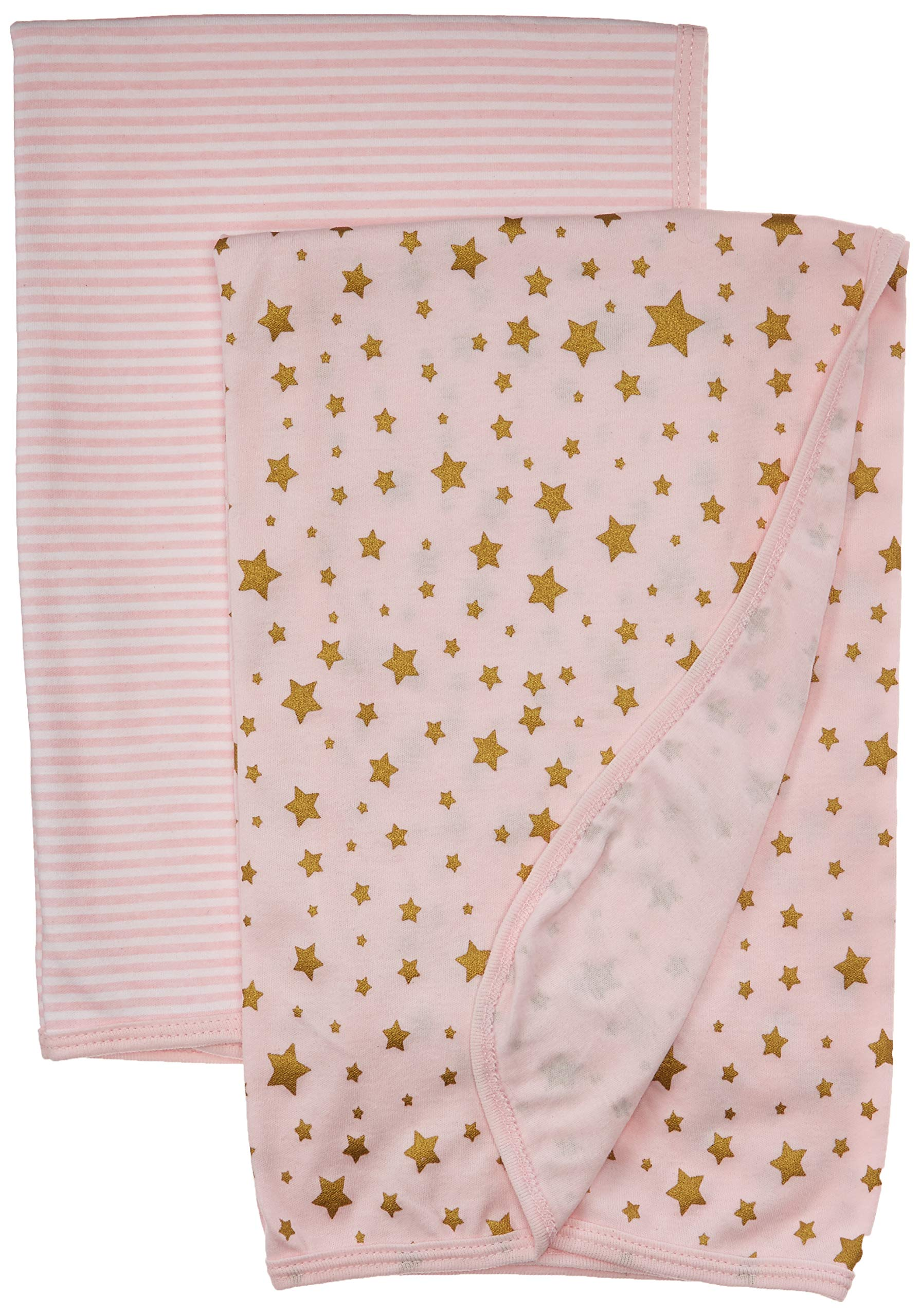Hudson Baby Unisex Baby Cotton Swaddle Blankets, Gold Star, One Size