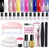 SEXY MIX Gel Nail Polish Starter Kit with UV Light, with Mini 12 Fashion Colors Soak Off Black White Pink Gel Nail Polish, Base and Top Coat, Nail Art Manicure Tools Kit