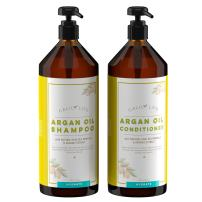 Calily Life Organic Moroccan Argan Oil Shampoo (33.8 Fl.Oz) + Conditioner with Dead Sea Minerals (30.6 fl.oz) , Duo Set, Concentrated Extra-strength Formula – Restores, Enhances, Softens and Shines