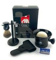 GBS 6 PC Shaving & Beard Set – Short Handle Heavy Duty Rubber Coated DE Razor + Mug, 100% Pure Badger Brush, Brush/Razor Stand, Natural Soap with Blades - Black Edition
