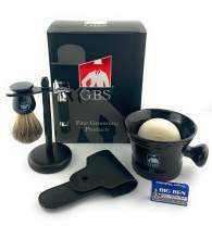 GBS 6 PC Shaving & Beard Set – Short Handle Heavy Duty Rubber Coated DE Razor + Mug, 100% Pure Badger Brush, Brush/Razor Stand, Natural Soap with Blades - Black Edition