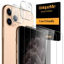 [5 Pack] UniqueMe 1 Pack Tempered Glass Privacy Screen Protector +2 Pack Clear Screen Protector+2 Pack Camera Lens Protector 9H Hardness for iPhone 11 Pro(5.8 inch)