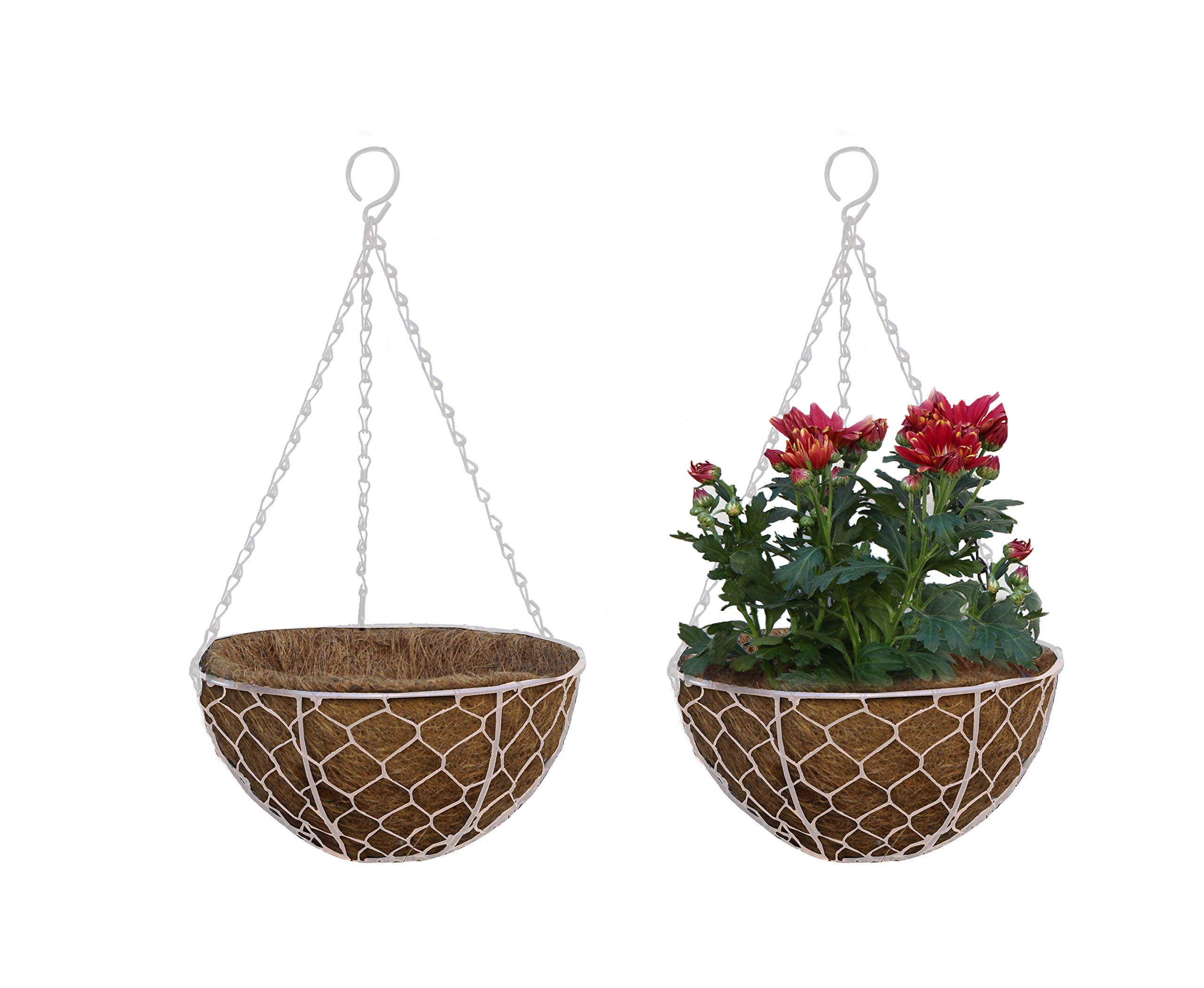 TABOR TOOLS Metal Hanging Planter Basket with Natural Coconut Coir Liner, Water Saving Hanging Flower Pot, Decor Hanging Basket, Chain and Hook Included.2-Pack (12'' Hen Mesh, White, MT2107A)