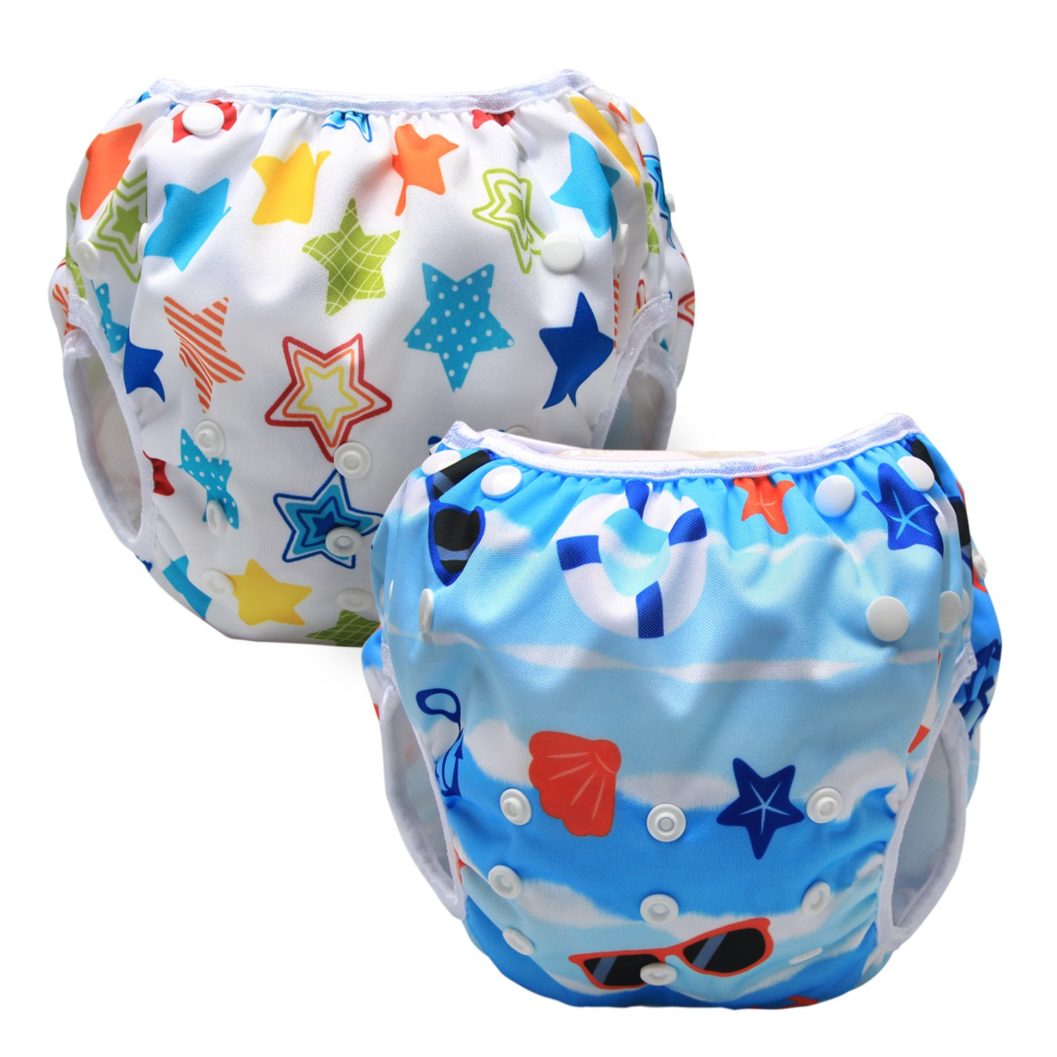 LUXJA Reusable Swim Diaper (Pack of 2), Adjustable Swimming Diaper for Baby (0-3 Years), Beach + Colorful Stars