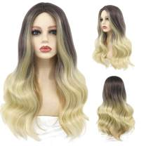 Peerless Ombre Wig 25 Inches Ombre Blonde Synthetic Wig Middle Part Long Wavy Style For Girls Women For Costume Party Daily Use Black Blonde Wig Heat Resistant Fiber