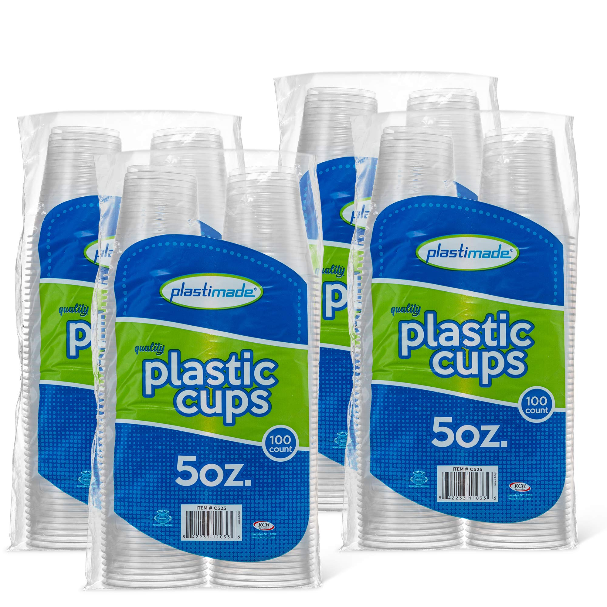 [400 Count] PlastiMade 5 Oz Clear Plastic Disposable Reusable Drinking Cups For Home, Office, Wedding, Events, Parties, Take Out, Water, Juice, Soda, Beer Cocktails (4 Packs)