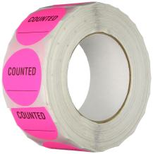 """TapeCase INVLBL-024""""Counted"""" Inventory Control Label in Pink [Pack of 1000] - 2 in. Circular Label for Marking, Color Coding, Notating Inventory Items"""