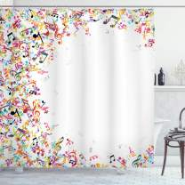 """Ambesonne Music Shower Curtain, Colorful Musical Notes with Frame Festival Singing Enjoyment Fashion Themed Print, Cloth Fabric Bathroom Decor Set with Hooks, 84"""" Long Extra, White Yellow"""