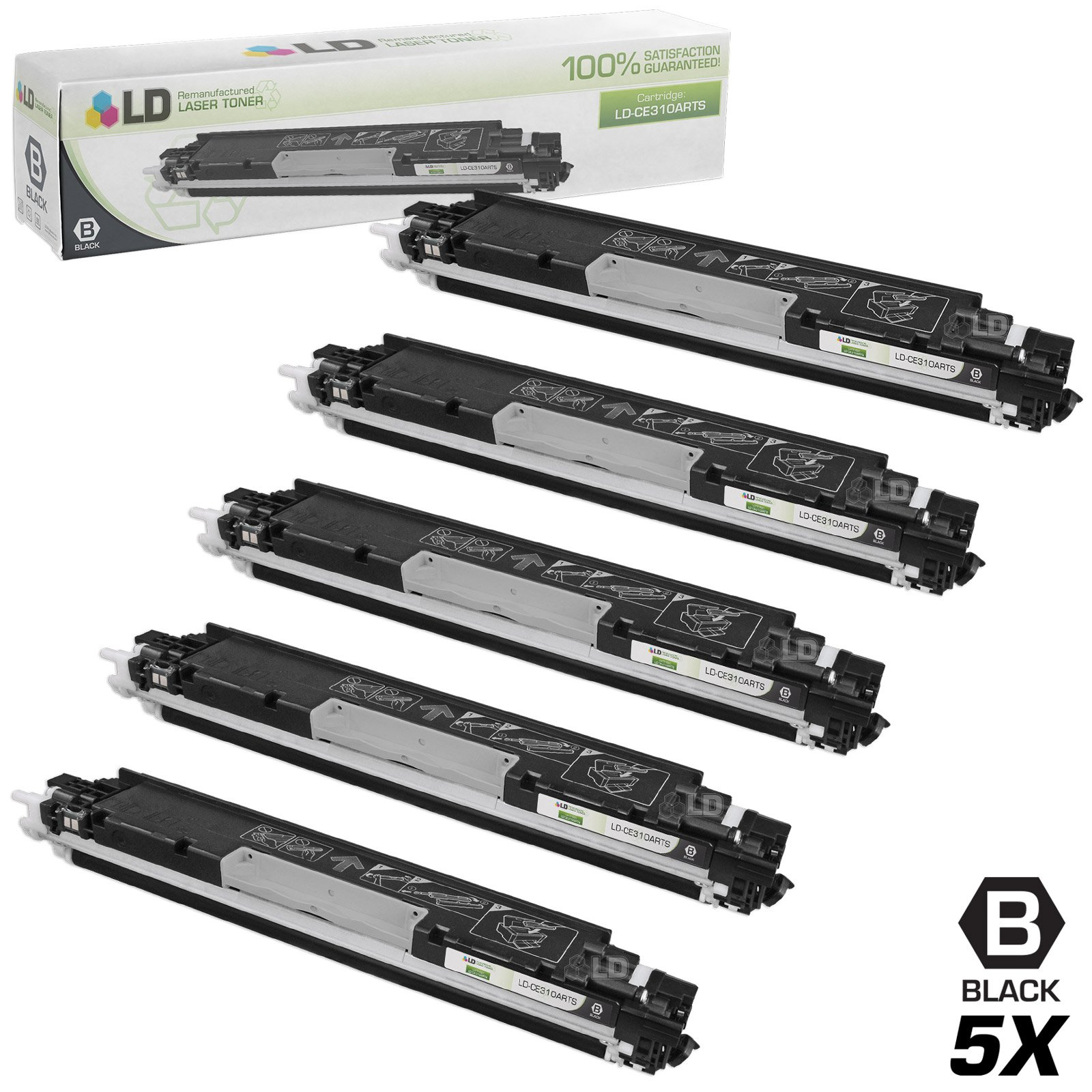LD Remanufactured Toner Cartridge Replacement for HP 126A CE310A (Black, 5-Pack)