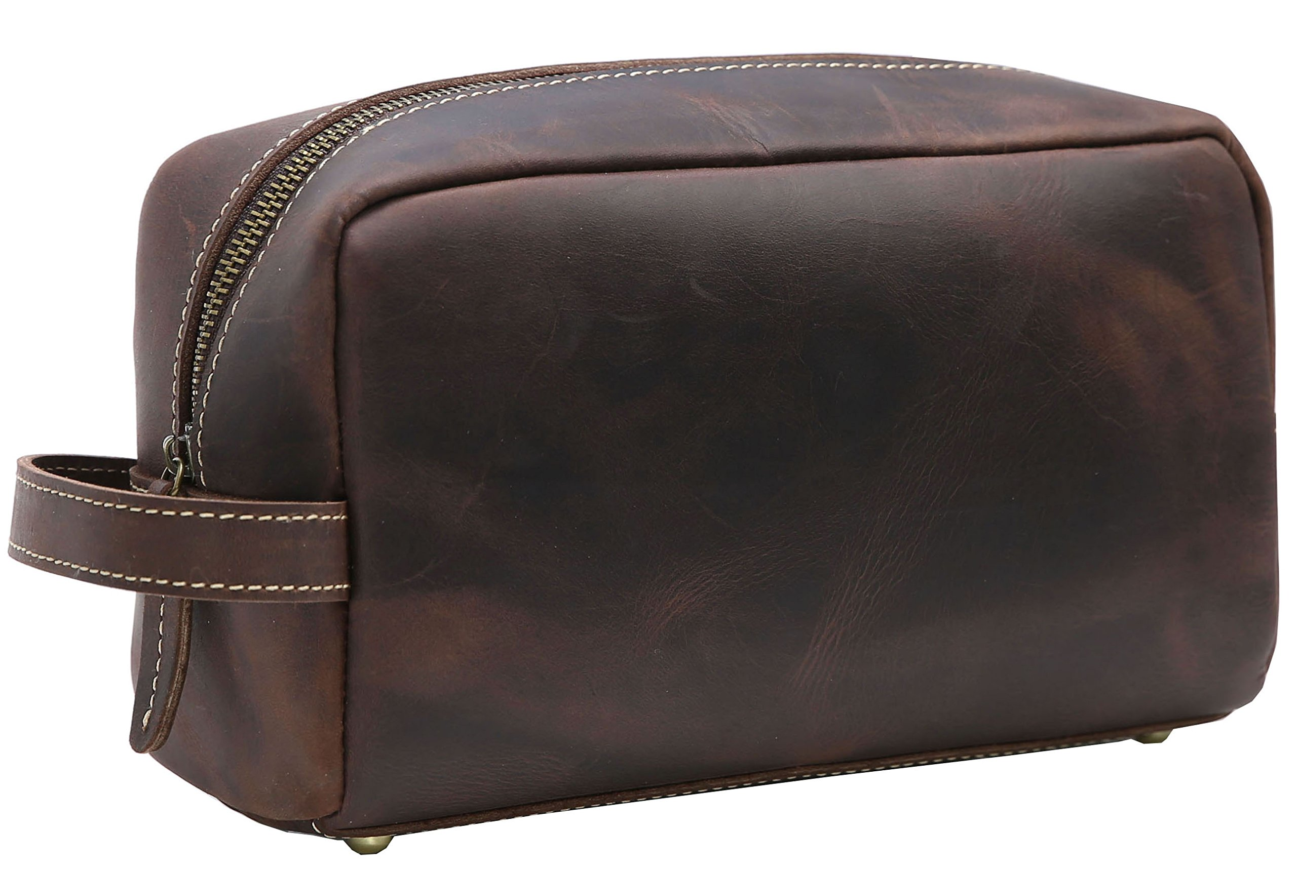 Iswee Leather Toiletry Bag for Men Wash Gargle, Cosmetic Bag Dopp Kit for Travel Plenty of room, Water Proof Lining, Easy to Open (Dark Brown)