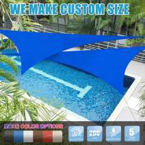 Amgo 20' x 20' x 20' Blue Triangle Sun Shade Sail Canopy Awning, 95% UV Blockage Water & Air Permeable, Commercial & Residential, for Patio Yard Pergola, 5 Yrs Warranty (Available for Custom Sizes)