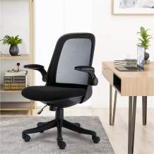 Mid-Back Ergonomic Home Office Chair,Komene Adjustable Mesh Computer Chair Thickened Seat Desk Chair with Lumbar Support and Flip-up Armrest Task Chair