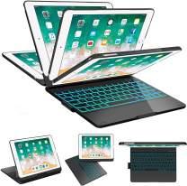 SZILBZ iPad Keyboard Case 9.7 for iPad 2018(6th Gen)-iPad 2017 (5th Gen)-iPad Pro 9.7-iPad Air 2&1-360 Rotatable & 180 Flip Ultrathin -7 Color Backlit-Auto Wake Sleep (Black)