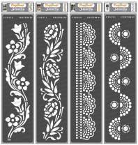 CrafTreat Flower Border Stencils for painting on Wood, Canvas, Paper, Floor and Wall - Border XII, Border XIII, Dot Border I and Dots Border II - 4 Pcs - 3x12 Inch each - Reusable DIY Craft Stencils