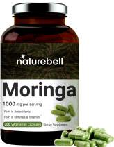 Moringa Capsules (Made with Organic Moringa Powder), 1000mg Per Serving, 200 Counts, Strong Antioxidant to Repair, Protect, Nurture Your Skin Cells and Support Immune System, Non-GMO