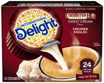 International Delight, Cold Stone Creamery Sweet Cream, Single-Serve Coffee Creamers, 24 Count (Pack of 6), Shelf Stable Non-Dairy Flavored Coffee Creamer, Great for Home Use, Offices, Parties